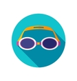 Swimming Goggles flat icon with long shadow vector image