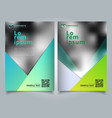 template paper green triangle design on blurred vector image