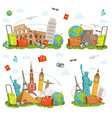travel icons and different landmarks famous world vector image vector image
