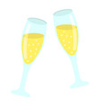 two glasses of champagne flat icon valentines day vector image