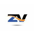 ZV company linked letter logo vector image vector image