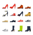 footwear for all occasions shoes sneakers boots vector image