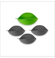 three gray and one green individuality leaf tree vector image