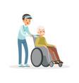 cheerful teen boy pushing old man on wheelchair vector image