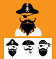 pirate head symbols with skull and crossed bones vector image