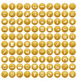100 portable icons set gold vector image vector image