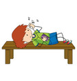 a boy listening music cartoon character isolated vector image