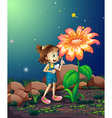 A girl with a shovel looking at the giant plant vector image vector image