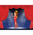 A lady with a crown at the stage vector image