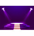abstract round podium with white carpet vector image vector image