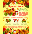 Autumn nature fall season poster template design vector image