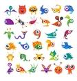 big set cartoon cute monsters vector image vector image