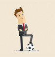 businessman with football concept business vector image vector image