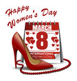 calendar with the date of march 8 womens shoes vector image vector image