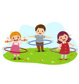 cartoon kids playing hula hoop vector image