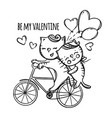 cat riding a bike valentine day cartoon vector image