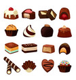 chocolate desserts of sweets and vector image vector image