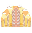 city view in autumn with high buildings clouds vector image vector image