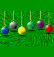colorful christmas balls on green needles vector image