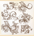 decorative swirl ornaments and fishes for design vector image vector image