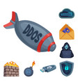 design of virus and secure sign collection vector image