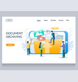 document archiving website landing page vector image