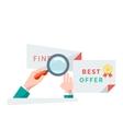 Find Best Offer Design Flat Concept vector image