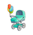 flat baby stroller carriage pram isolated vector image