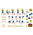 flat man tourist travel bag creation set vector image vector image