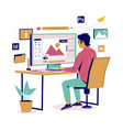 graphic designer creating his artwork flat vector image vector image