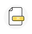 h file format extension color line icon vector image vector image