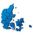 High detailed map - Denmark vector image