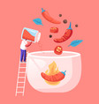 hot spicy food concept tiny male character stand vector image vector image