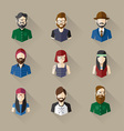 icons set male female faces in hipster theme vector image vector image
