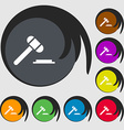 judge or auction hammer icon sign Symbols on eight vector image vector image