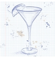 Kamikaze alcohol cocktail on a notebook page vector image vector image