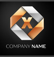 Letter x logo symbol in the colorful rhombus on vector image