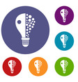 light bulb icons set vector image vector image