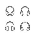line headphones icons set on white background vector image vector image