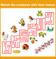 match creatures with their homes vector image vector image