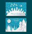 merry christmas greeting postcards with houses vector image