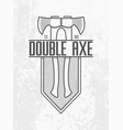 monochrome double ax logo on grey wall background vector image