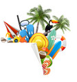 paper corner with beach accessories vector image vector image