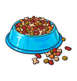 plastic bowl filled with dry pelleted pet cat vector image