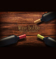 realistic with three wine bottles vector image vector image