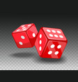 red dices on transparent backgrund vector image