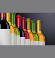 red white and rose wine vector image