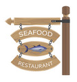 restaurant seafood advertisement on wooden boards vector image