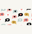 seamless pattern with doodle love heart emoji vector image vector image
