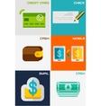 Set of flat design concepts - payment methods vector image